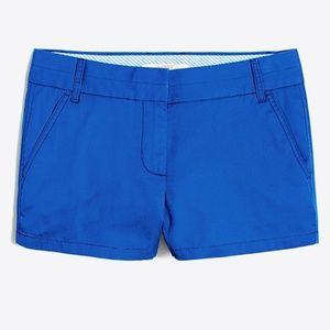 "J. Crew    3"" Chino Short    Bright Blue    Size 0"